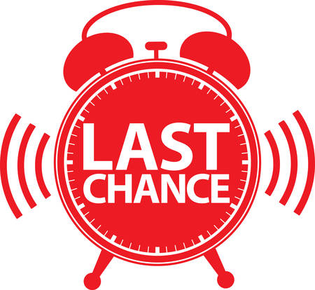 Last chance alarm clock icon, vector illustration