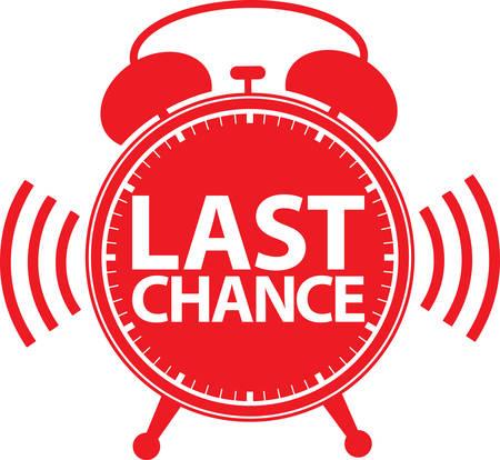 last chance: Last chance alarm clock icon, vector illustration