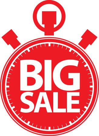 big timer: Big sale stopwatch red label, vector illustration Illustration