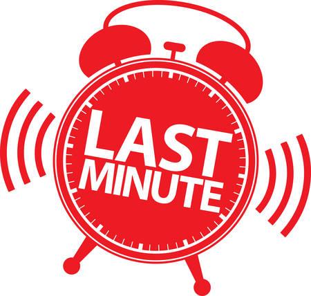last minute: Last minute alarm clock icon, vector illustration