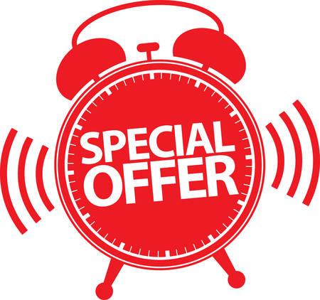 Special offer alarm clock icon, vector illustration