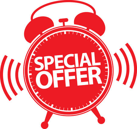special: Special offer alarm clock icon, vector illustration