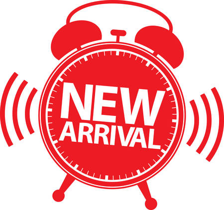 new arrival: New arrival alarm clock icon, vector illustration