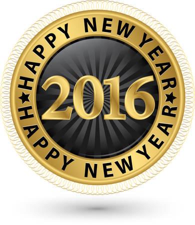 x mas parties: Happy new 2016 year golden label, vector illustration