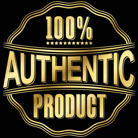 authentic: Authentic product golden retro label, vector illustration Illustration