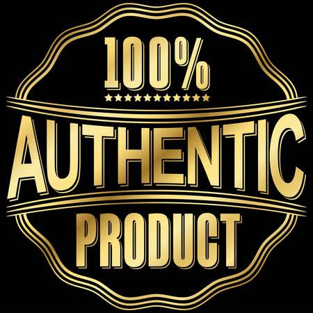 Produit authentique rétro or étiquette, illustration vectorielle