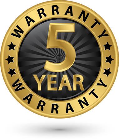 5 year warranty golden label, vector illustration