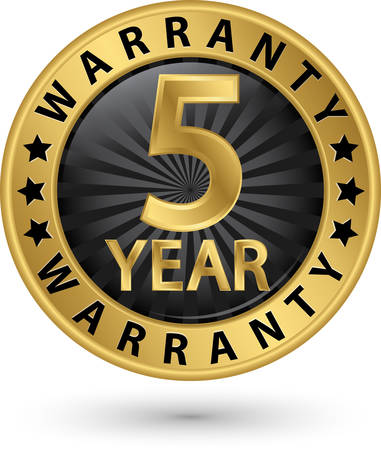 5 year warranty golden label, vector illustration