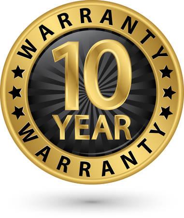 10 anni di garanzia etichetta dorata, illustrazione vettoriale Vettoriali