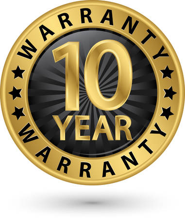 10 year warranty golden label, vector illustration 向量圖像