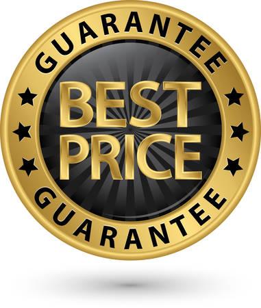 La garanzia di prezzi etichetta d'oro, illustrazione vettoriale Vettoriali
