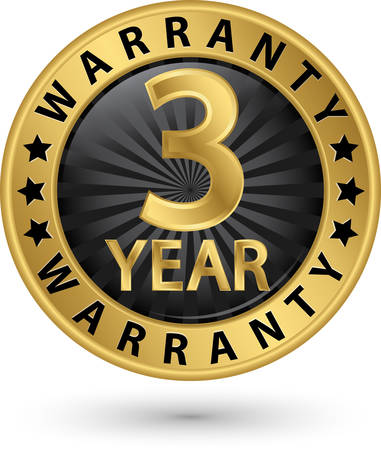 3 year warranty golden label, vector illustration