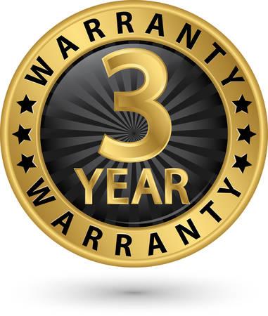 3 year warranty golden label, vector illustration Stock fotó - 51816440