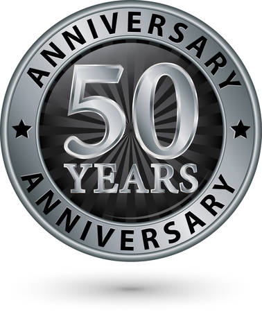 aniversario de boda: 50 años etiqueta de aniversario de plata, ilustración vectorial