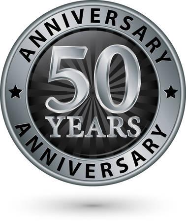 anniversario matrimonio: 50 anni dell'etichetta nozze d'argento, illustrazione vettoriale