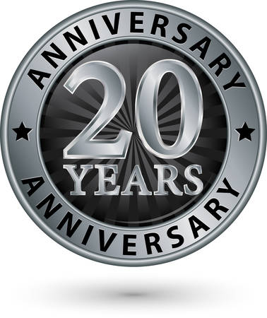 20 years anniversary silver label, vector illustration Vettoriali
