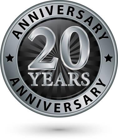 20: 20 years anniversary silver label, vector illustration Illustration