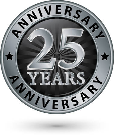 25: 25 years anniversary silver label, vector illustration