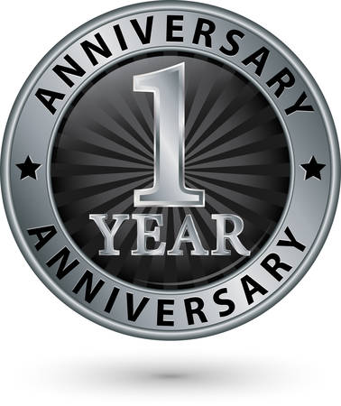 1 year: 1 year anniversary silver label, vector illustration