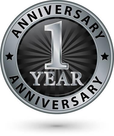 1 year anniversary: 1 year anniversary silver label, vector illustration
