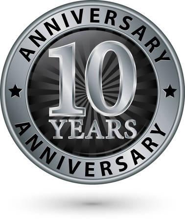 10 years anniversary silver label, vector illustration Ilustração