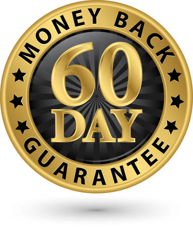 back: 60 day money back guarantee golden sign, vector illustration