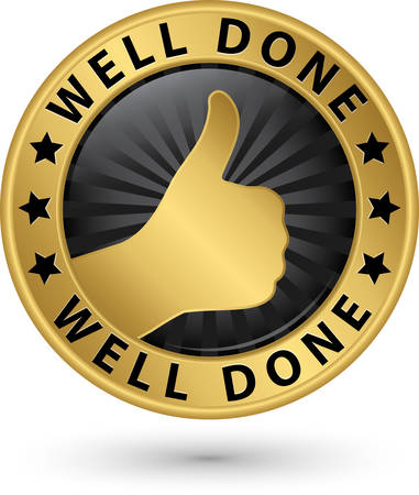 symbol sign: Well done golden label with thumb up, vector illustration Illustration