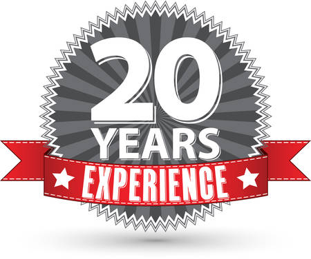 20 years experience retro label with red ribbon, vector illustration Ilustração