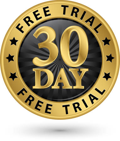 trial: 30 day free trial golden label, vector illustration