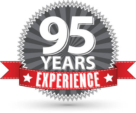 commitments: 95 years experience retro label with red ribbon, vector illustration Illustration