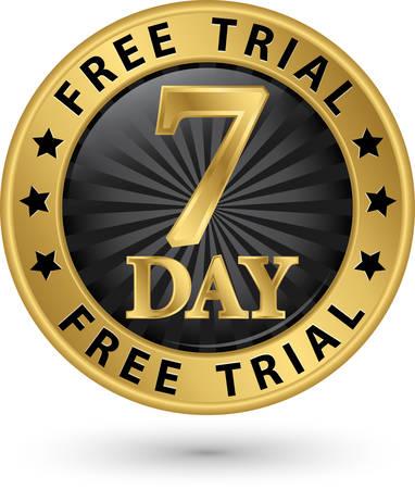 7 dagen gratis trial gouden label, vector illustratie Stock Illustratie