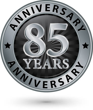 silver anniversary: 85 years anniversary silver label, vector illustration