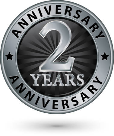 2 years: 2 years anniversary silver label, vector illustration Illustration
