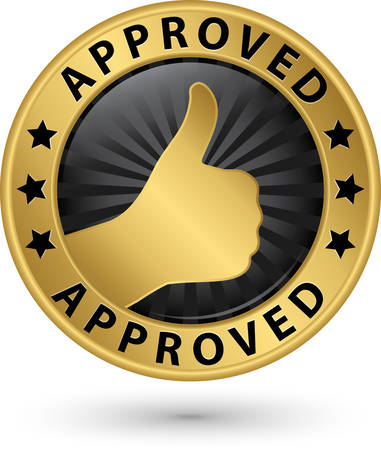 advantages: Approved golden label with thumb up, vector illustration