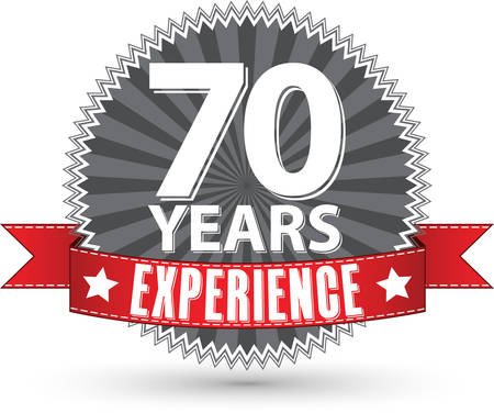 70: 70 years experience retro label with red ribbon, vector illustration Illustration