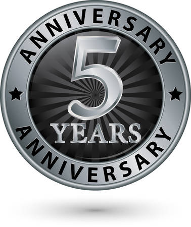 th: 5 years anniversary silver label, vector illustration