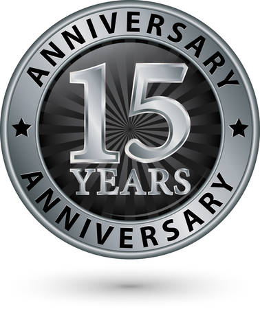 15: 15 years anniversary silver label, vector illustration
