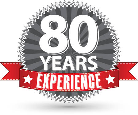 80 years: 80 years experience retro label with red ribbon, vector illustration Illustration