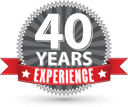 th: 40 years experience retro label with red ribbon, vector illustration
