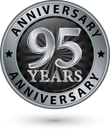 95: 95 years anniversary silver label, vector illustration