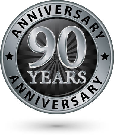 90: 90 years anniversary silver label, vector illustration