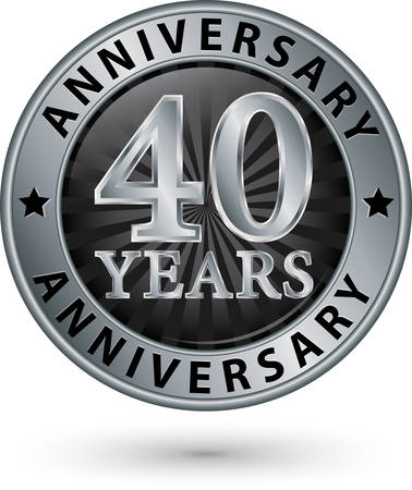 40th: 40 years anniversary silver label, vector illustration