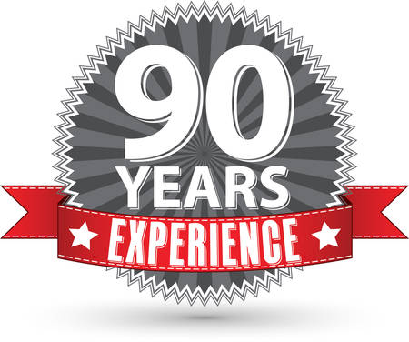 90th: 90 years experience retro label with red ribbon, vector illustration