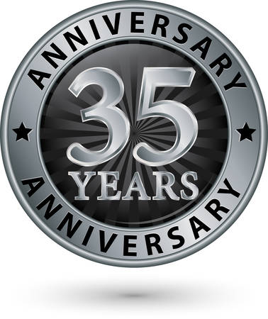 silver anniversary: 35 years anniversary silver label, vector illustration Illustration
