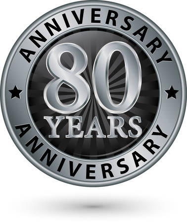 80 years: 80 years anniversary silver label, vector illustration