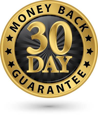 Dinero de 30 días garantía de devolver el signo de oro, ilustración vectorial