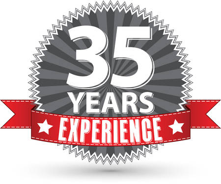 35 years: 35 years experience retro label with red ribbon, vector illustration