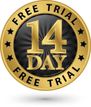 14: 14 day free trial golden label, vector illustration Illustration
