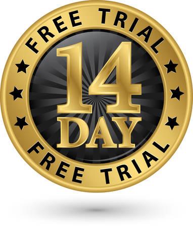 14 jours d'essai gratuit étiquette dorée, illustration vectorielle