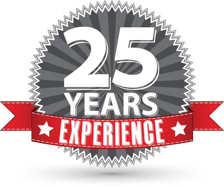 25 years experience retro label with red ribbon, vector illustration Illustration